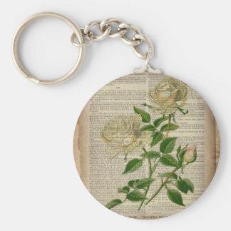 girly floral botanical art vintage white rose key chains