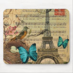 girly floral butterfly paris eiffel tower mouse pad
