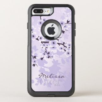 Girly Floral Cherry Blossoms Purple Monogram OtterBox Commuter iPhone 8 Plus/7 Plus Case
