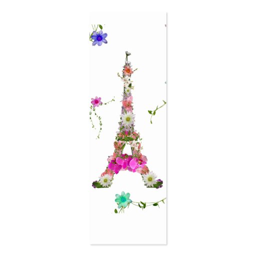 Girly Floral French Eiffel Tower Bright Flowers Business Card Template