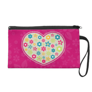 Girly Floral Heart Custom Name Wristlet Clutches