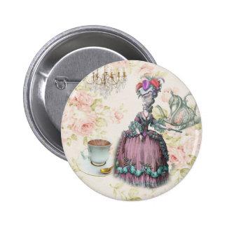 Girly floral Marie Antoinette Paris tea party Button