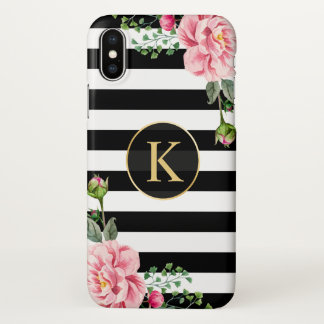 Girly Floral Monogram Black White Striped iPhone X Case