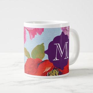 Girly Floral Monogram Giant Mug Jumbo Mug