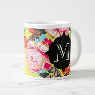 Girly Floral Paisley Monogram Giant Mug Jumbo Mug