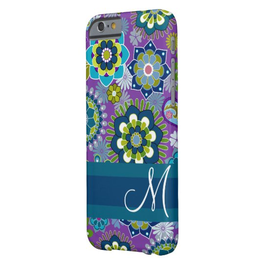 Girly Floral Pattern with monogram Barely There iPhone 6 Case