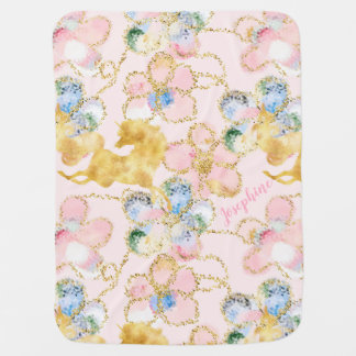 Girly Floral Unicorn Pink Gold Personalised Baby Blanket