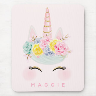 Girly Floral Unicorn Pink Gold Personalised Mouse Mat