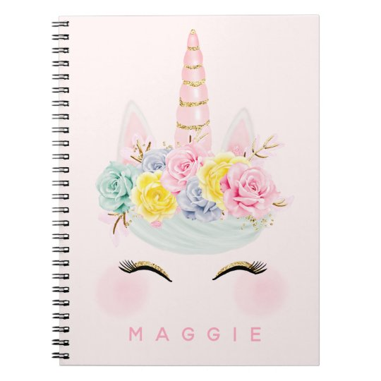 Girly Floral Unicorn Pink Gold Personalised Notebook