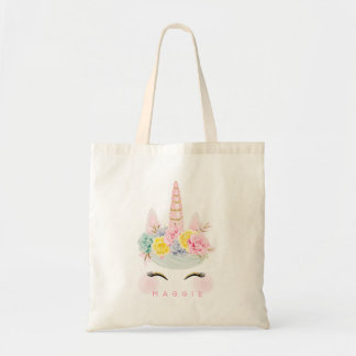 Girly Floral Unicorn Pink Gold Personalised Tote Bag