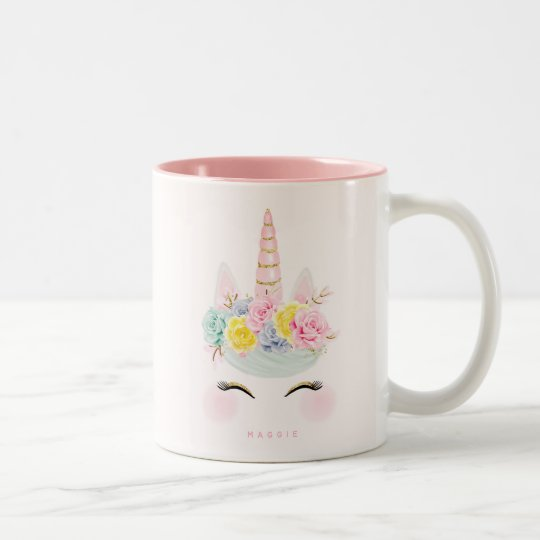 Girly Floral Unicorn Pink Gold Personalised Two-Tone Coffee