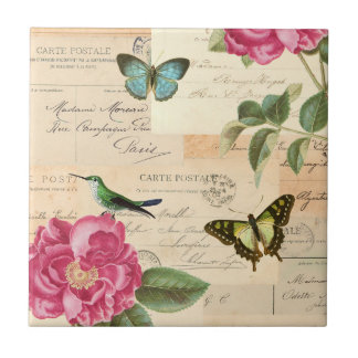 Girly floral vintage tile w/ bird and butterflies