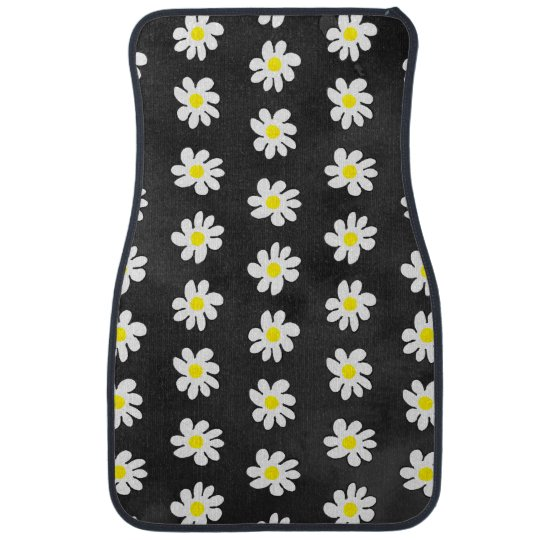Girly floral white daisy pattern black watercolor floor