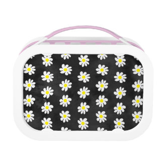 Girly floral white daisy pattern black watercolor lunchbox