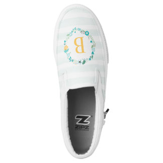 Girly Floral Wreath Monogram Printed Shoes