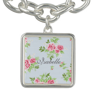 Girly flower bracelet with name