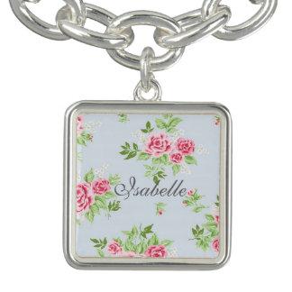 Girly flower bracelet with name