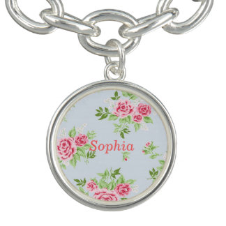 Girly flower name bracelet