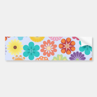 Girly Flower Power Colorful Floral Pattern Bumper Sticker