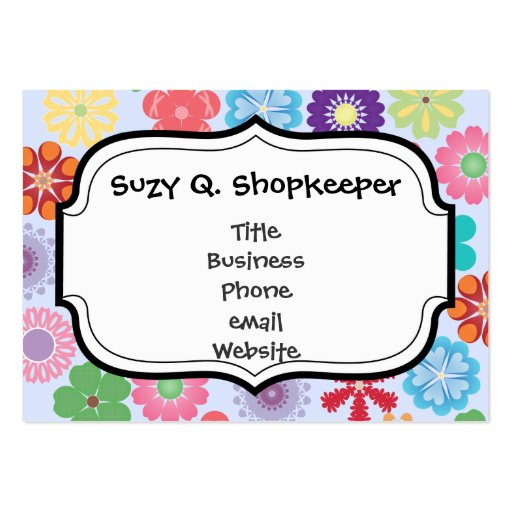 Girly Flower Power Colorful Floral Pattern Business Card