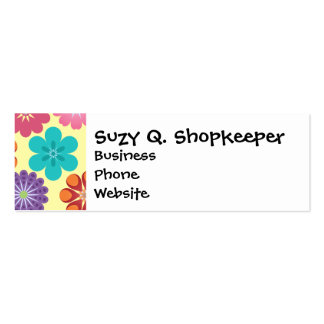 Girly Flower Power Colorful Floral Pattern Pack Of Skinny Business Cards