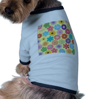 Girly Flower Power Colorful Floral Pattern Doggie T-shirt