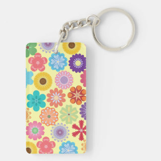 Girly Flower Power Colorful Floral Pattern Gifts Double-Sided Rectangular Acrylic Key Ring