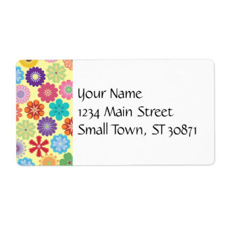 Girly Flower Power Colorful Floral Pattern Gifts Shipping Label