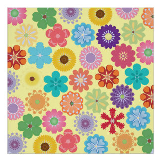 Girly Flower Power Colorful Floral Pattern Gifts Poster
