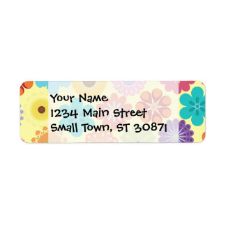 Girly Flower Power Colorful Floral Pattern Gifts Return Address Label