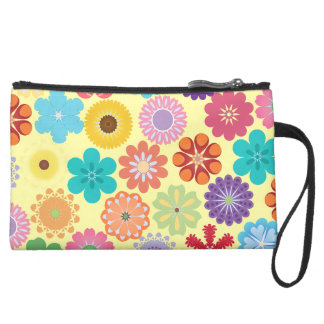 Girly Flower Power Colorful Floral Pattern Gifts Suede Wristlet