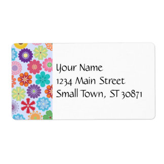 Girly Flower Power Colorful Floral Pattern Shipping Label