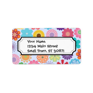 Girly Flower Power Colorful Floral Pattern Address Label