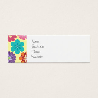 Girly Flower Power Colorful Floral Pattern Mini Business Card
