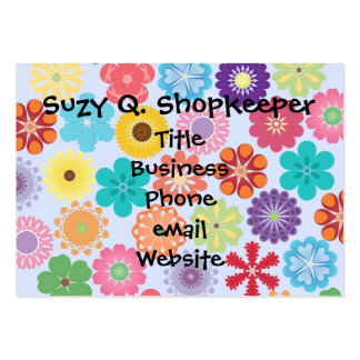 Girly Flower Power Colorful Floral Pattern Pack Of Chubby Business Cards