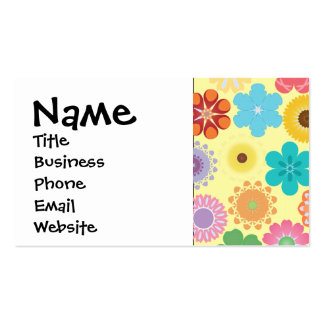 Girly Flower Power Colorful Floral Pattern Pack Of Standard Business Cards