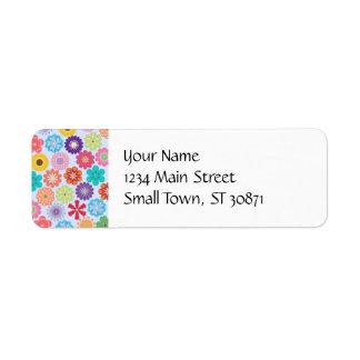 Girly Flower Power Colorful Floral Pattern Return Address Label