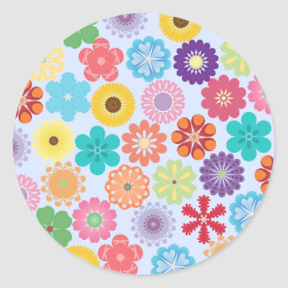 Girly Flower Power Colorful Floral Pattern Round Sticker