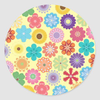 Girly Flower Power Colorful Floral Pattern Sticker