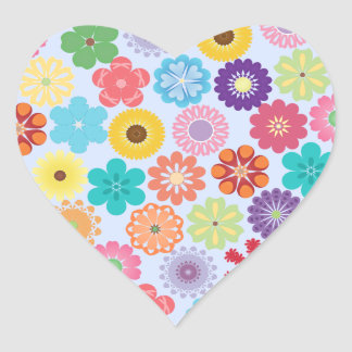 Girly Flower Power Colorful Floral Pattern Heart Stickers