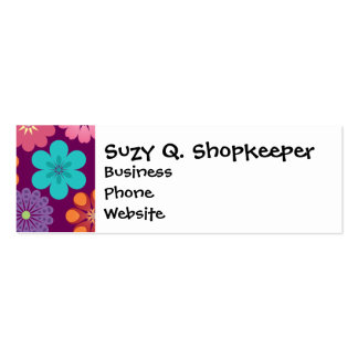 Girly Flower Power Colorful Floral Purple Pattern Pack Of Skinny Business Cards