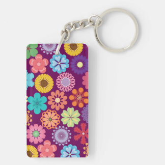 Girly Flower Power Colorful Floral Purple Pattern Double-Sided Rectangular Acrylic Key Ring