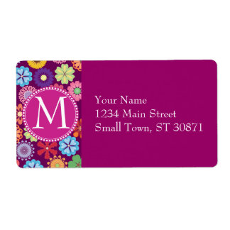 Girly Flower Power Colorful Floral Purple Pattern Shipping Label