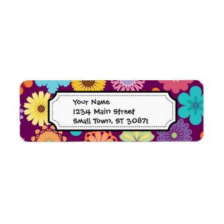 Girly Flower Power Colorful Floral Purple Pattern Return Address Label