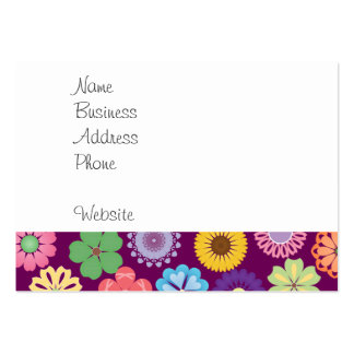 Girly Flower Power Colorful Floral Purple Pattern Pack Of Chubby Business Cards