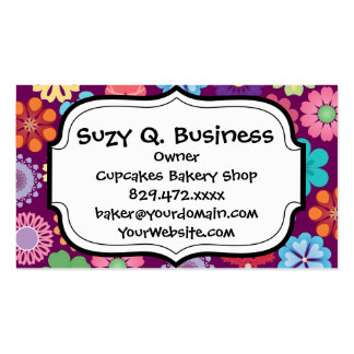 Girly Flower Power Colorful Floral Purple Pattern Pack Of Standard Business Cards