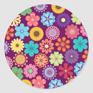 Girly Flower Power Colorful Floral Purple Pattern Round Sticker