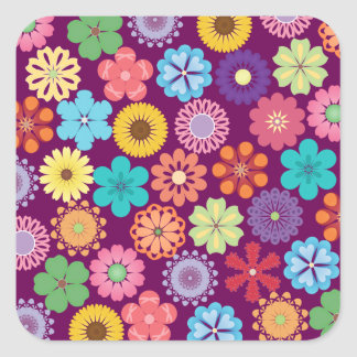 Girly Flower Power Colorful Floral Purple Pattern Sticker