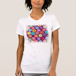 Girly Flower Power Colorful Floral Purple Pattern T-Shirt