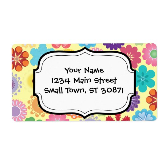 Girly Flower Power Colourful Floral Pattern Gifts Shipping Label